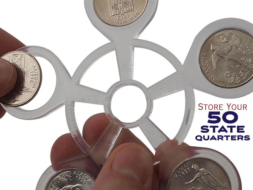 Coin Carousel_Inserting Quarter_Store Your 50 State Quarters